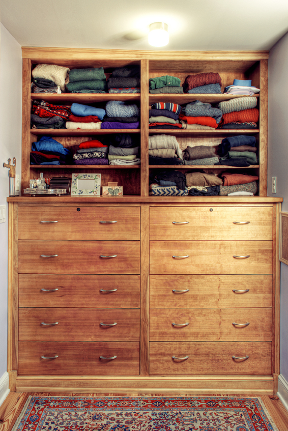 This cherry bureau was part of a custom closet that included cherry partitions for the closet poles.
